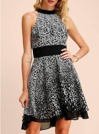 Print Sleeveless A-line Knee Length Party Dresses