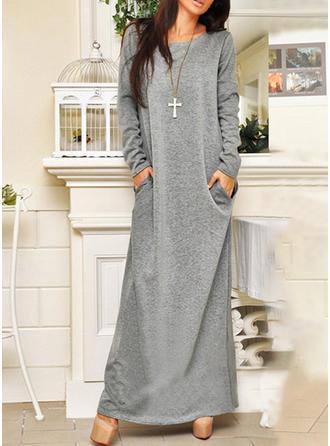 7ee5f0b0156 Solid Long Sleeves Shift Maxi Casual Dresses (199219200) - Dresses ...