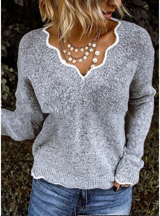 Solid Chunky knit V-Neck Long Sleeves Casual Blouses