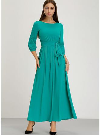 Solid 1/2 Sleeves A-line Maxi Vintage/Casual/Elegant Dresses