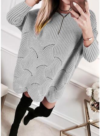 Jednolita Długie rękawy Koktajlowa Nad kolana Casual Sweter Sukienki