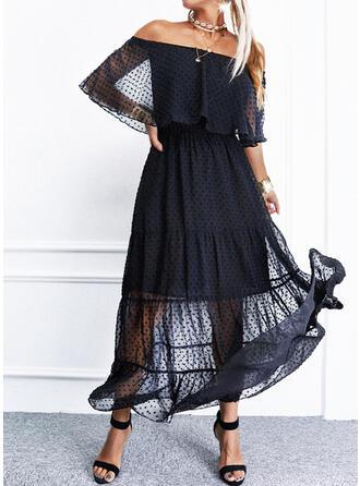 Jednolita Rękawy 1/2/Rozkloszowane rękawy W kształcie litery A Łyżwiaż Mała czarna/Elegancki Maxi Sukienki