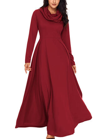 Solid Long Sleeves A-line Elegant Maxi Dresses