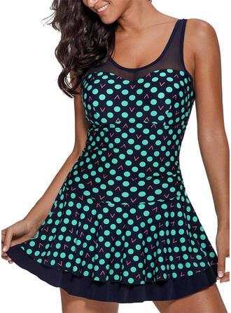 Tečky Proužek Na ramínka Vintage Plus mărimea Plavkové šaty Costume de baie