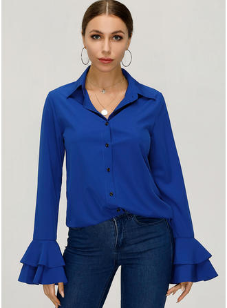 Solid Lapel Flare Sleeve Long Sleeves Button Up Casual Elegant Shirt Blouses