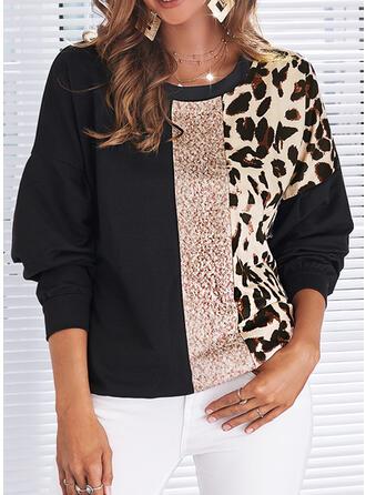 Impresión Trozos de color Leopardo Cuello Redondo Manga Larga Sudadera