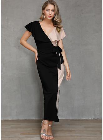 Color Block Short Sleeves Sheath Party Maxi Dresses