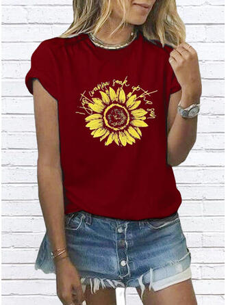 Sunflower Print Round Neck Short Sleeves Casual T-shirts