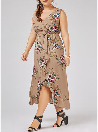 Print/Floral Sleeveless A-line Asymmetrical Casual/Vacation/Plus Size Dresses