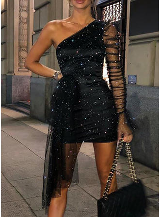 Solid Long Sleeves Sheath Above Knee Sexy/Party/Elegant Dresses