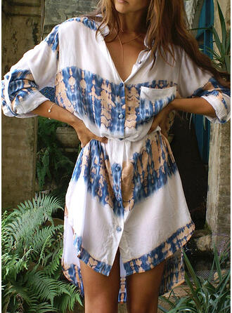 Print 3/4 Sleeves Sheath Asymmetrical Casual/Vacation Dresses
