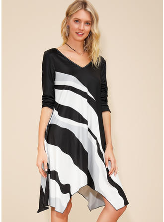 Color Block Long Sleeves Shift Asymmetrical Casual Dresses