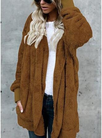 Pelliccia ecologica Maniche lunghe Colore solido Cappotto di pelliccia sintetica