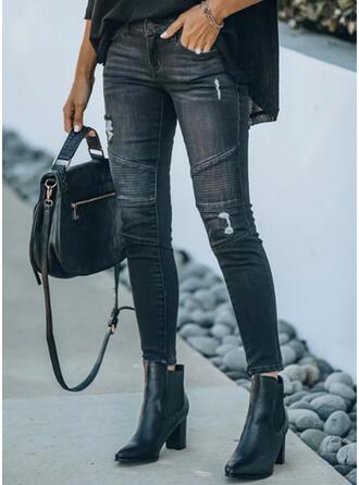 Sólido Jean Grandes Casual Tamanho positivo Escritório / Negócios Bolso rasgado Jeans