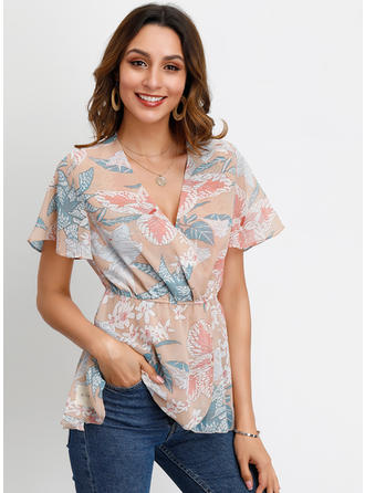 Print V Neck Flare Sleeve Short Sleeves Casual Elegant Blouses