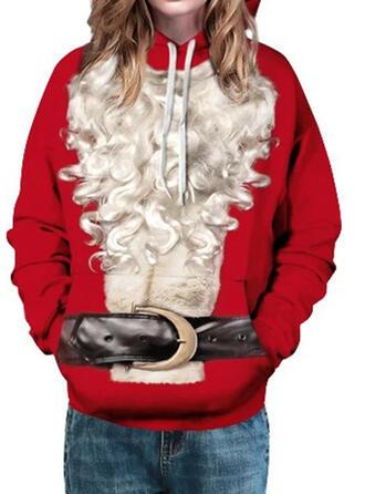 Mulheres Misturas de Algodão Impressão Camisola de Natal