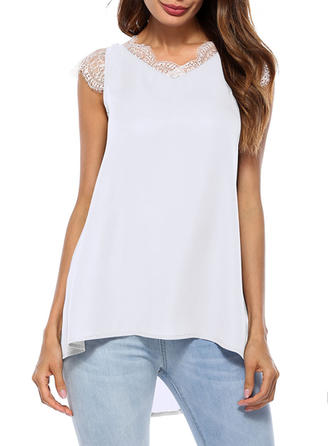Polyester Round Neck Lace Cap Sleeve Casual Blouses