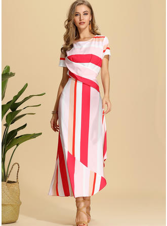 Striped Short Sleeves A-line Maxi Casual/Elegant Dresses