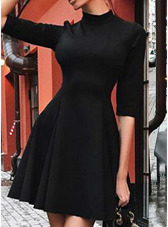 Solid 1/2 Sleeves A-line Above Knee Little Black/Casual/Elegant Dresses