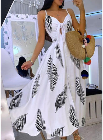 Print Sleeveless A-line Slip/Skater Party Maxi Dresses