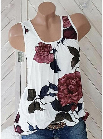Floral Round Neck Sleeveless Casual Tank Tops