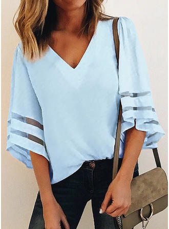 Polyester V Neck Striped 1/2 Sleeves Casual Blouses