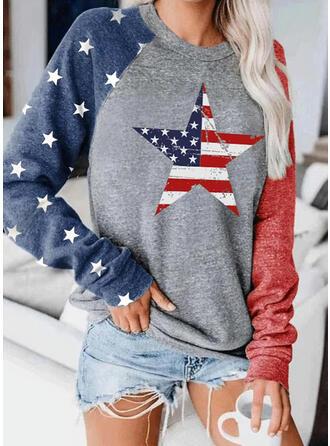 Print Color Block Ronde nek Lange Mouwen Sweatshirts