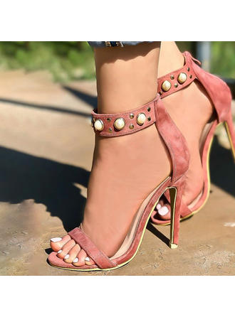 Women's Suede Stiletto Heel Sandals Pumps Peep Toe With Imitation Pearl shoes