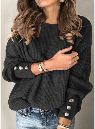 Solid Ribbed Round Neck Casual Sweaters