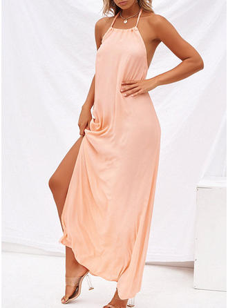 Solid Sleeveless A-line Maxi Sexy/Casual/Vacation Dresses