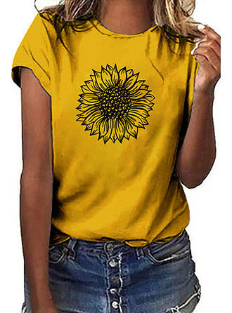 Print Sunflower Print Round Neck Short Sleeves Casual T-shirts