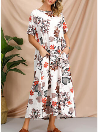 Print/Floral 1/2 Sleeves Shift Tunic Casual/Boho/Vacation Midi Dresses