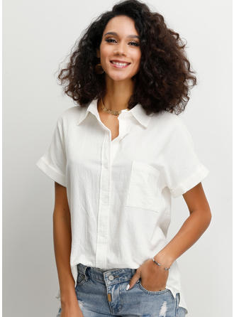 Solido Risvolto Maniche corte Bottone Casuale Shirt and Blouses