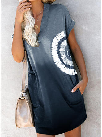 Print/Tie Dye Short Sleeves Shift Above Knee Casual Dresses
