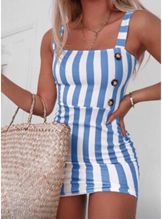 Striped Sleeveless Sheath Above Knee Casual Dresses