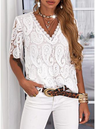 Einfarbig Spitze V-Ausschnitt Kurze Ärmel Lässige Kleidung Blusen