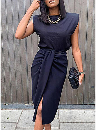 Solid Sleeveless Bodycon Knee Length Casual/Elegant Dresses