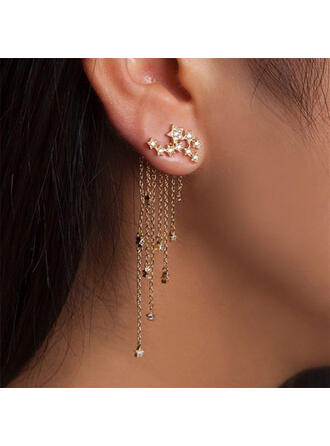 Tassels Design Shining Star Alloy Rhinestones Women's Earrings 2 PCS