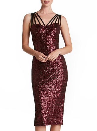 Sequins Solid Strap Knee Length Bodycon Dress