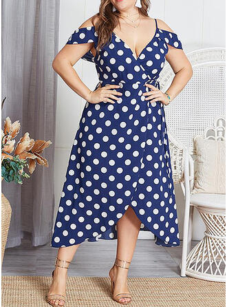 Print/PolkaDot Short Sleeves A-line Asymmetrical Casual/Plus Size Dresses