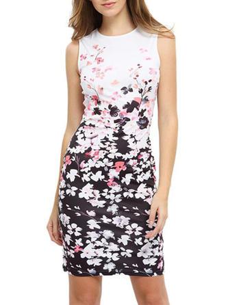 Print Floral Round Neck Above Knee Bodycon Dress
