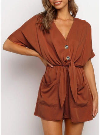 Solid V-Neck Short Sleeves Casual Romper