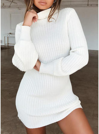 Solid Ribbed Turtleneck Sweater Dress