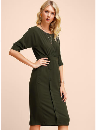 Solid 1/2 Sleeves Sheath Knee Length Casual Dresses