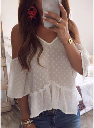 PolkaDot Cold Shoulder Flare Sleeve 3/4 Sleeves Casual Blouses