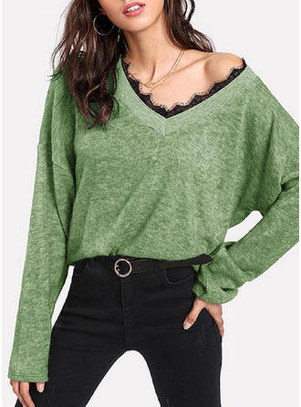 Polyester V-neck Couleur unie Pulls
