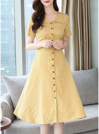 Plaid Short Sleeves A-line Midi Casual Dresses