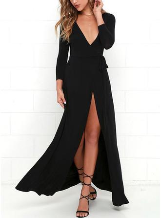 Solid V-neck Maxi A-line Dress