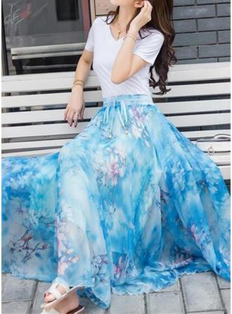 Tecido de seda Floral Comprimento Do Piso saias de uma linha