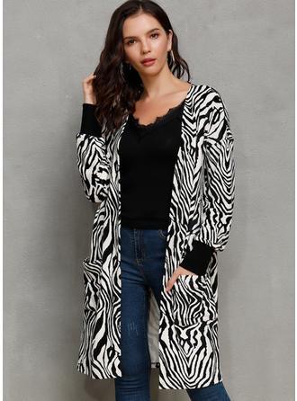 Cotton Blends Long Sleeves Animal Print Blend Coats Wide-Waisted Coats
